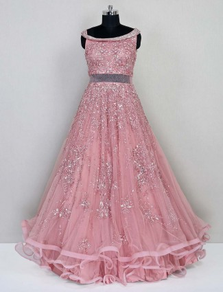 Peach net gown for women in net