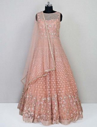 Peach net reception wear gown for women