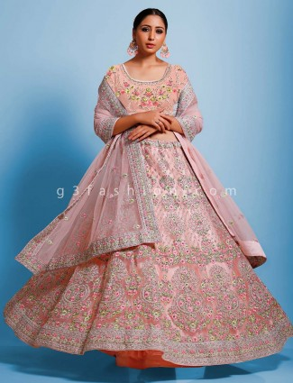 Peach net wedding wear semi stitched lehenga choli