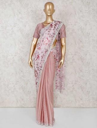 Peach pink chiffon saree for wedding