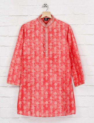 Peach printed cotton kurta suit for boys