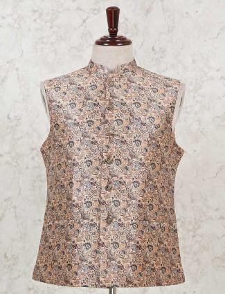 Peach printed cotton silk waistcoat for wedding