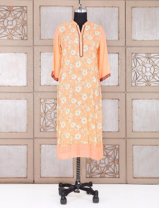 Peach printed festive wear kurti