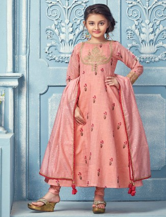 Peach printed pattern cotton party wear anarkali suit