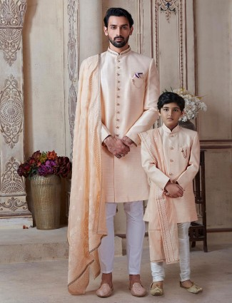 Peach raw silk wedding father son indo western