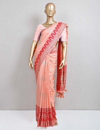 Peach semi silk festive special saree