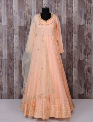 Peach silk suit for reception function