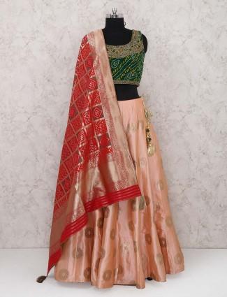 Peach silk fabric lehenga choli for wedding