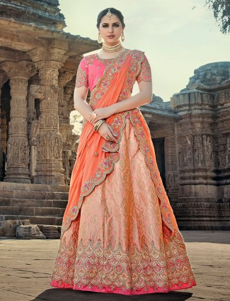 Peach silk fabric unstitched lehenga choli
