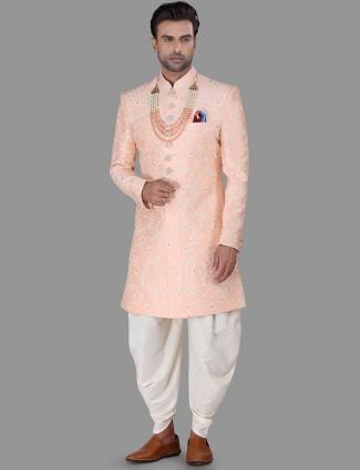 Peach silk mens indo western wedding wear