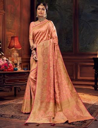 Peach silk saree for wedding days