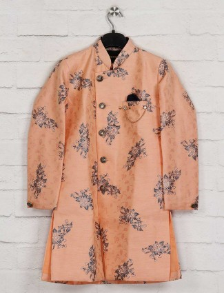 Peach silk wedding kurta suit