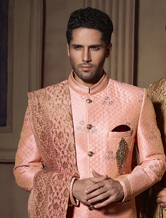 Peach silk wedding wear dressy indo western