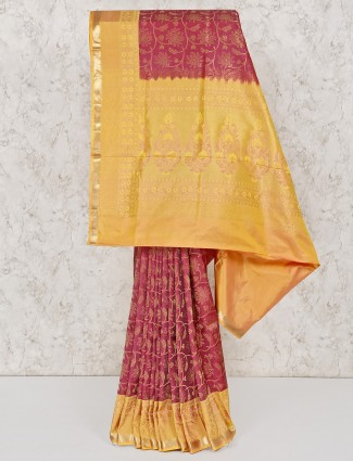 Peach south silk  wedding saree