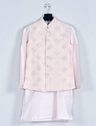Peach thread work boys sillk waistcoat