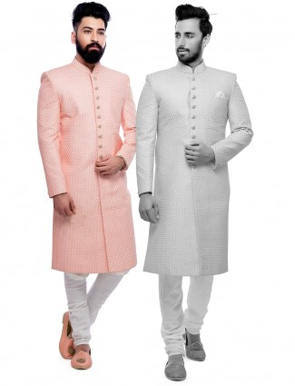 Peach wedding wear sherwani in silk fabric