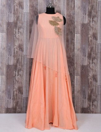 Peach color poncho style gown style dress