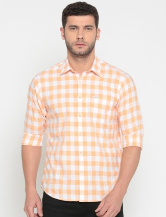 Pepe Jeans checks cotton peach shirt