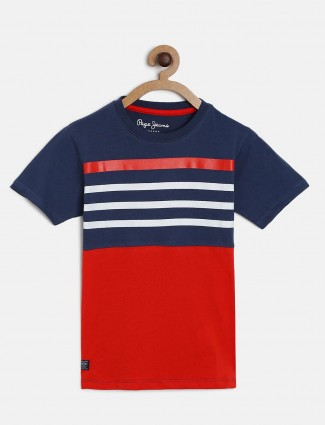 Pepe Jeans navy and red stripe t-shirt