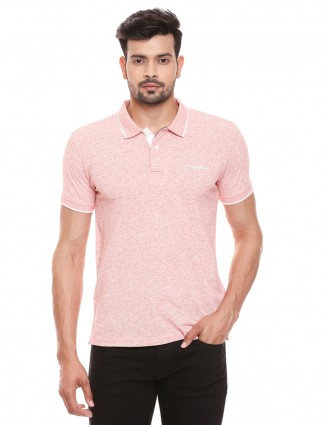 Pepe Jeans polo neck solid peach t-shirt