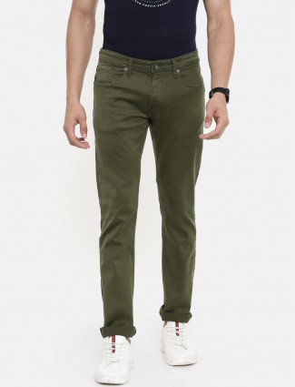 Pepe Jeans solid olive color jeans