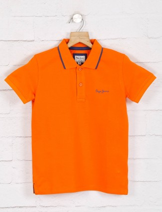 Pepe jeans solid orange cotton polo t-shirt