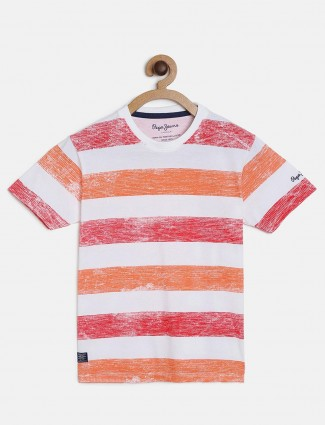 Pepe Jeans stripe red and orange t-shirt
