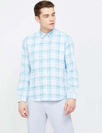 Pepe Jeans white and aqua checks shirt