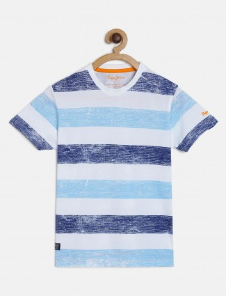 Pepe Jeans white and aqua stripe t-shirt