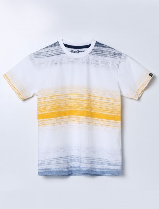 Pepe Jeans white stripe slim fit t-shirt