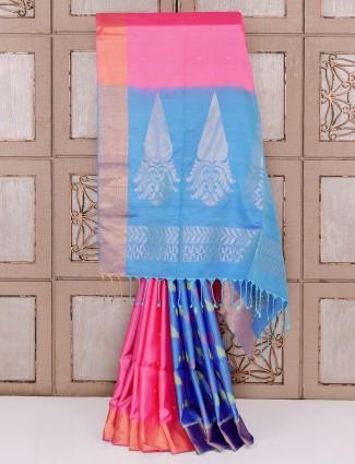 Pink and aqua color silk half and half saree