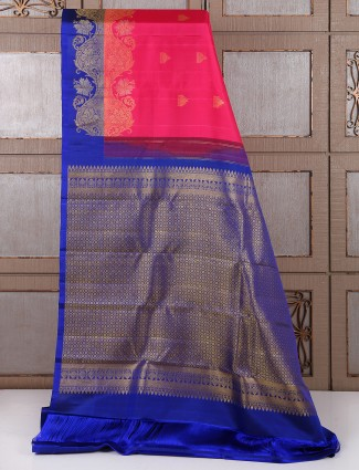 Pink and blue kanchipuram pattu silk bridal saree