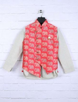 Pink and cream hue partywear waistcoat set