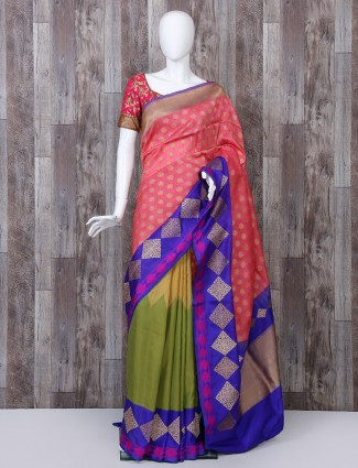 Pink and green pure banarasi silk half and half saree