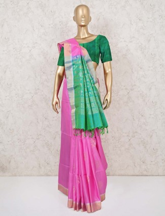 Pink and green south silk saree for wedding