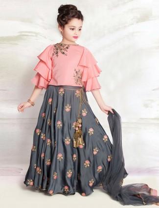 Pink and grey designer girls lehenga choli