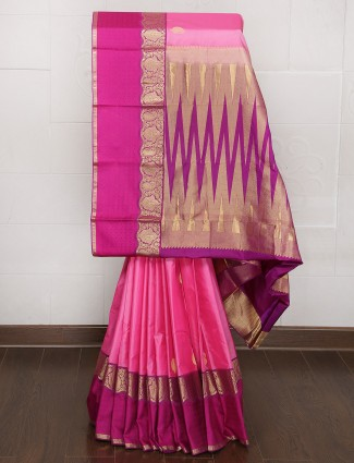 Pink and magenta color kanjivaram silk saree