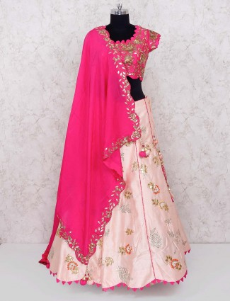Pink and magenta raw silk lehenga choli