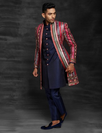 Pink and navy wedding wear indo western