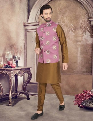 Pink and olive thread worked waistcoat set