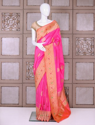 Pink and peach banarasi silk saree for wedding function