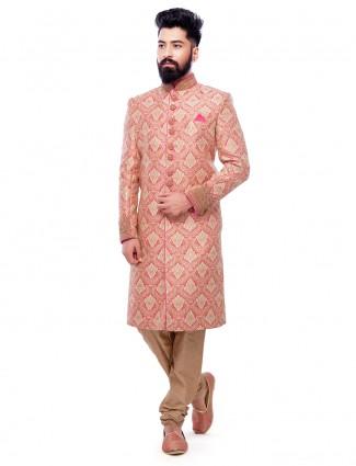 Pink and silk wedding wear sherwani