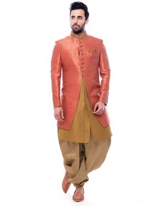 Pink beige wedding wear classy indo western