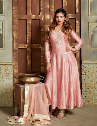 Pink chanderi silk anarkali suit
