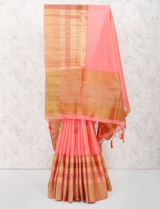 Pink color amazing cotton silk saree for festive wear