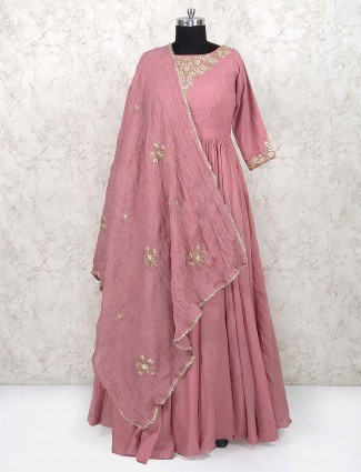 Pink color cotton anarkali salwar suit