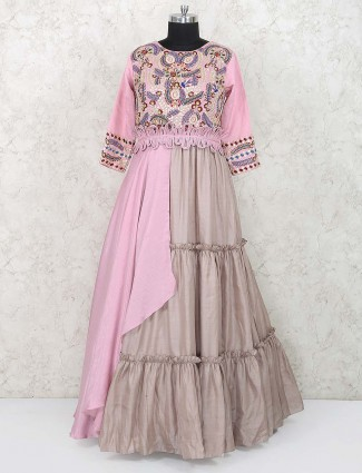 Pink color cotton silk fabric designer anarkali salwar suit