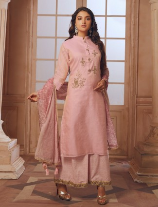 Pink color cotton silk palazzo suit