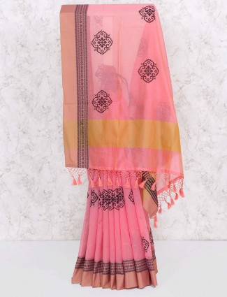 Pink color festival saree