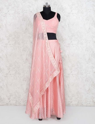 Pink color lehenga choli in georgette fabric